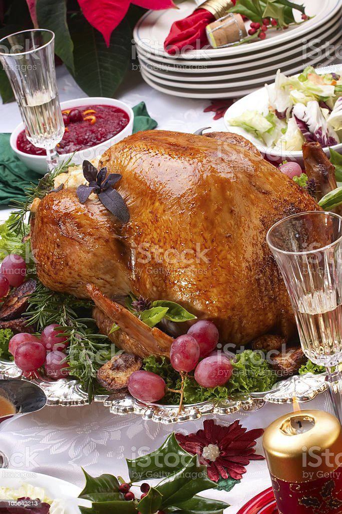 Christmas turkey on holiday table royalty-free stock photo