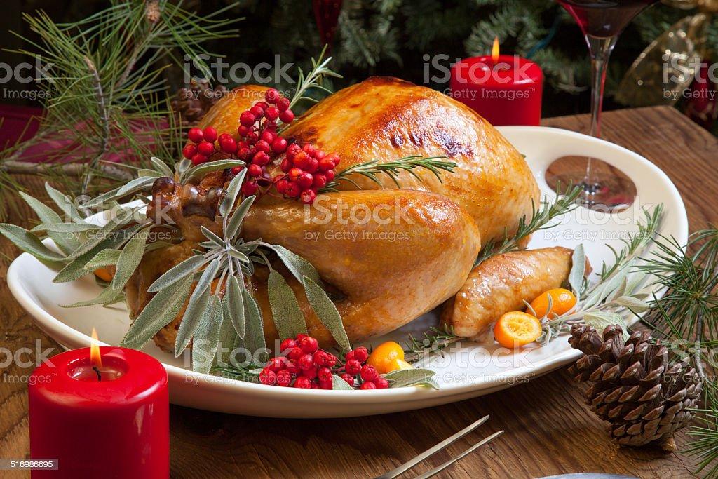 Christmas Turkey Prepared For Dinner stock photo