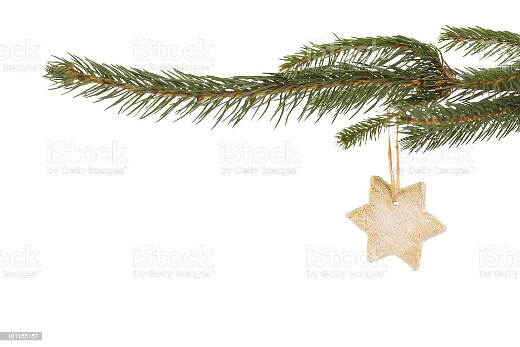 christmas twig decoration with star royalty-free stock photo