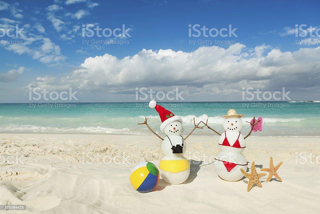 Christmas Vacation in Tropical Beach of Caribbean Sea stock photo