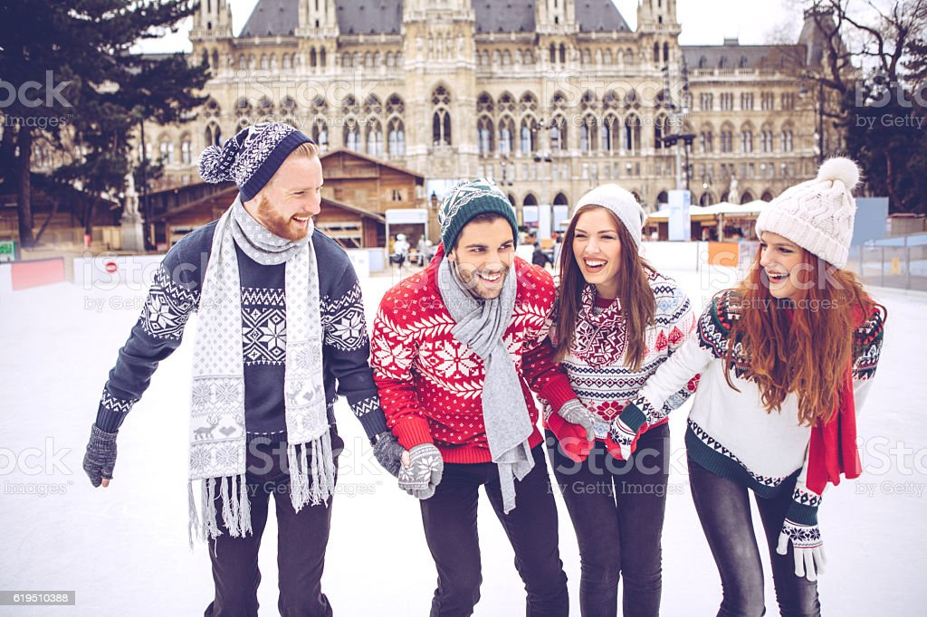 Christmas vacation with friends stock photo