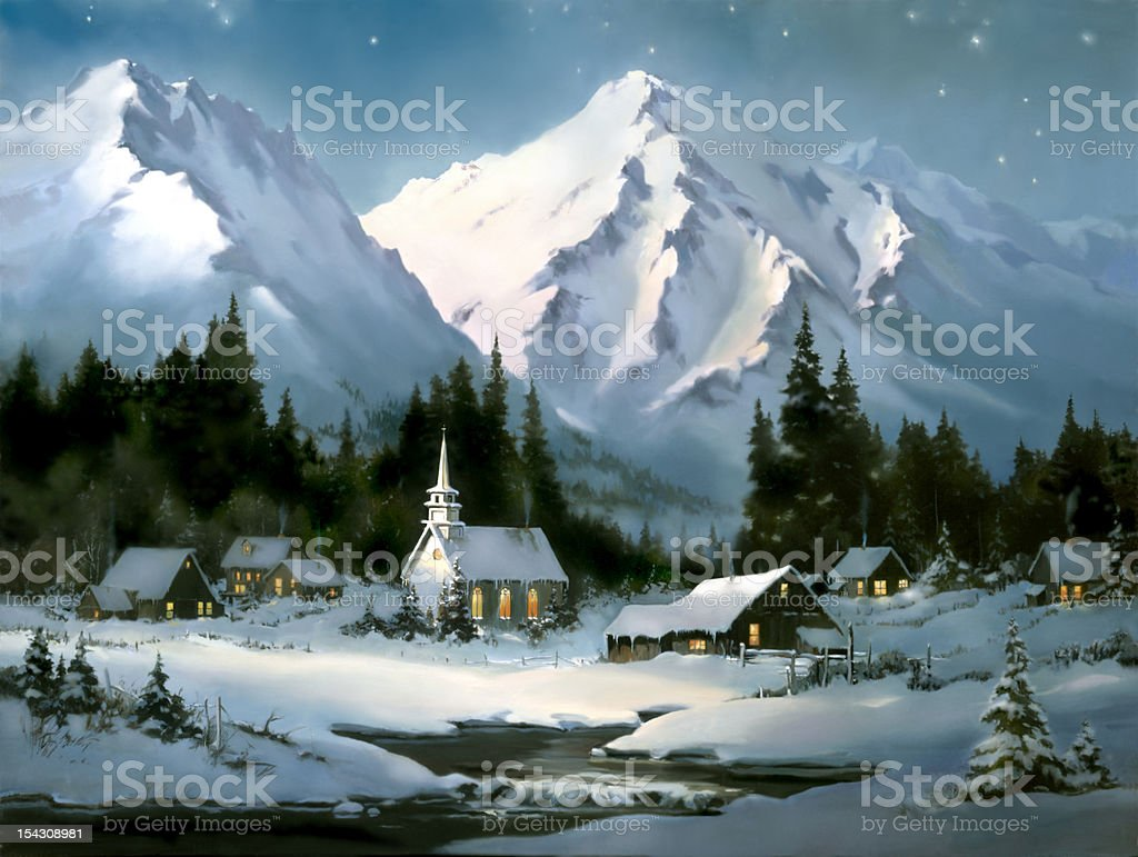 Christmas Village Scene Church Barns Artist Sherry Gribben stock photo