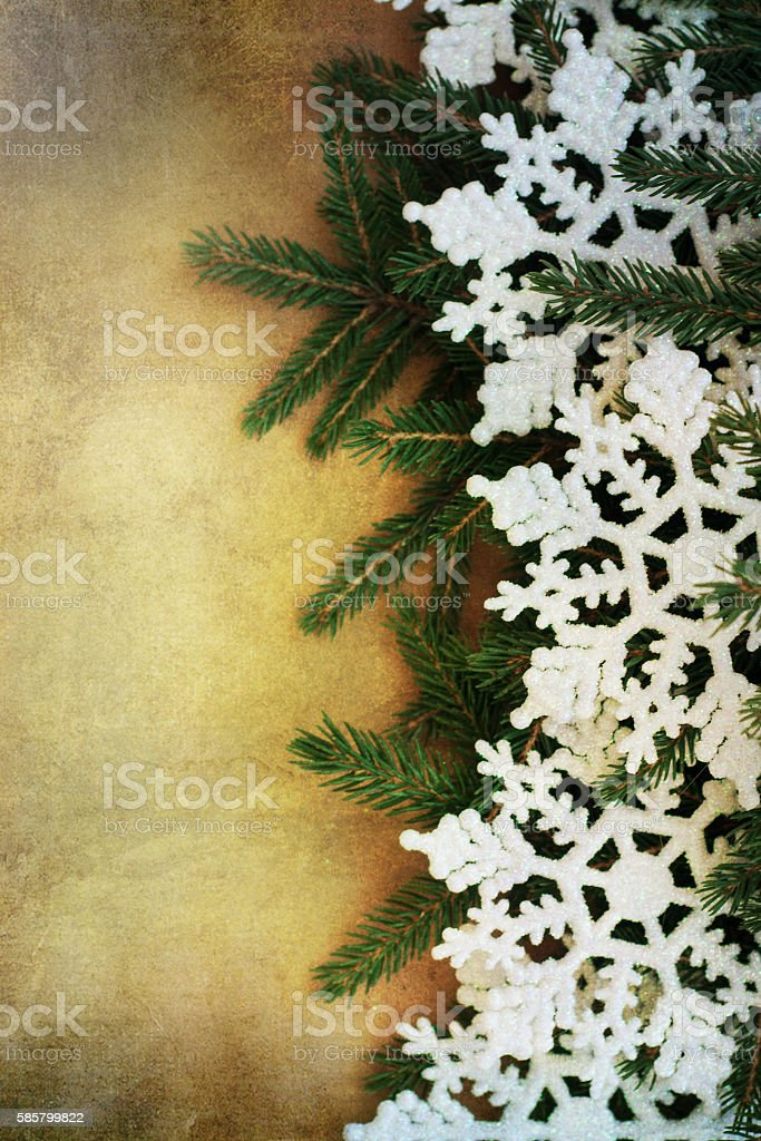 christmas vintage background with snowflakes on old paper textur stock photo