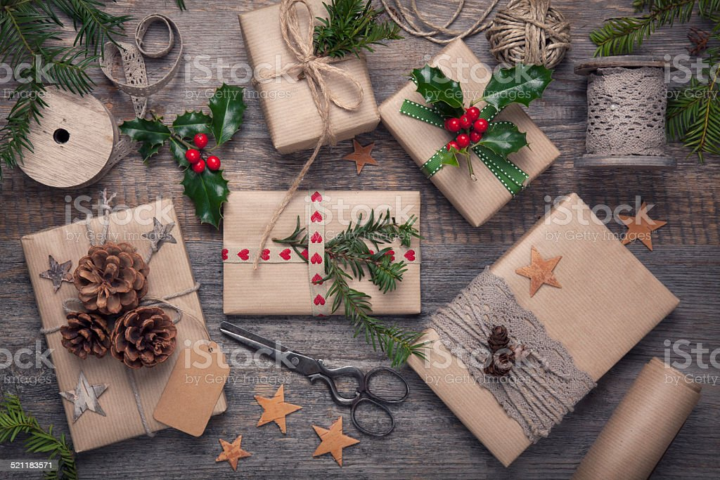 Christmas vintage presents stock photo