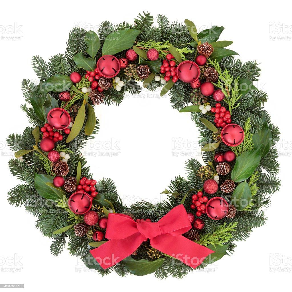 Christmas Welcome Wreath stock photo