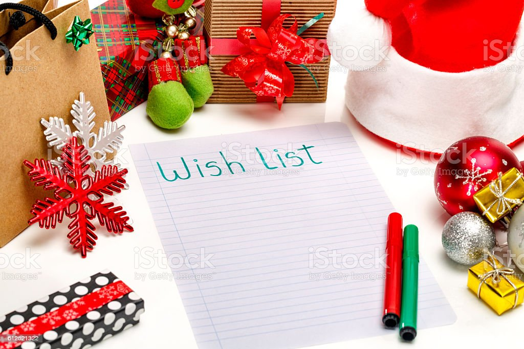 Christmas whist list on white background. stock photo