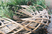Christmas willow wreath with fir branches