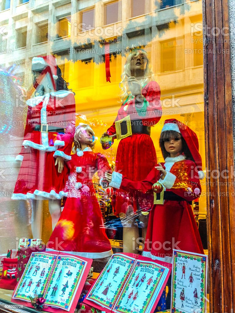 Christmas window display in Madrid, Spain stock photo