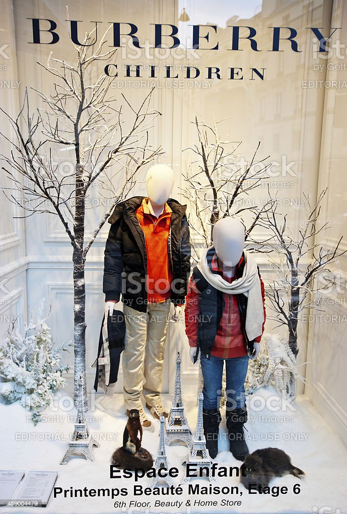 Christmas Window Display of Burberry  Children in Paris royalty-free stock photo