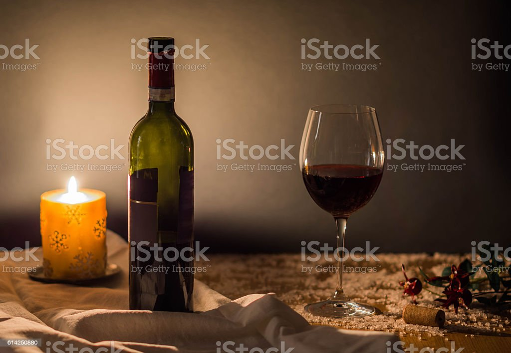 Christmas wine and fire greetings card stock photo