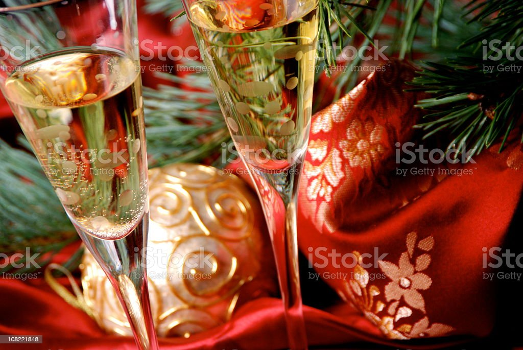 Christmas Wine Glasses Festive Holiday Toast royalty-free stock photo