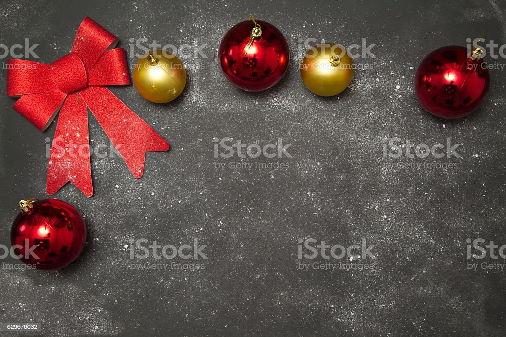 Christmas Winter decoration with Red Bow stock photo