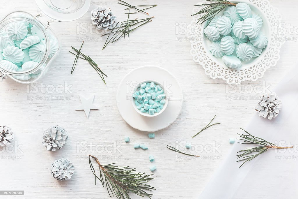 Christmas. Winter. Hot chocolate with marshmallow. Top view, flat lay stock photo