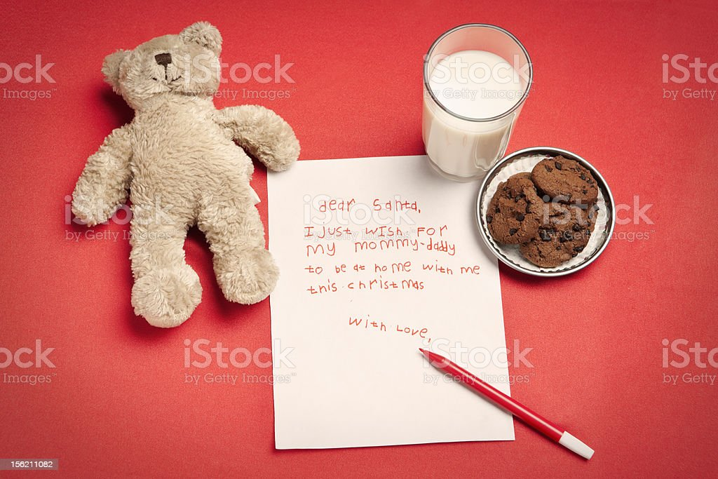 Christmas wish letter from lonely child stock photo