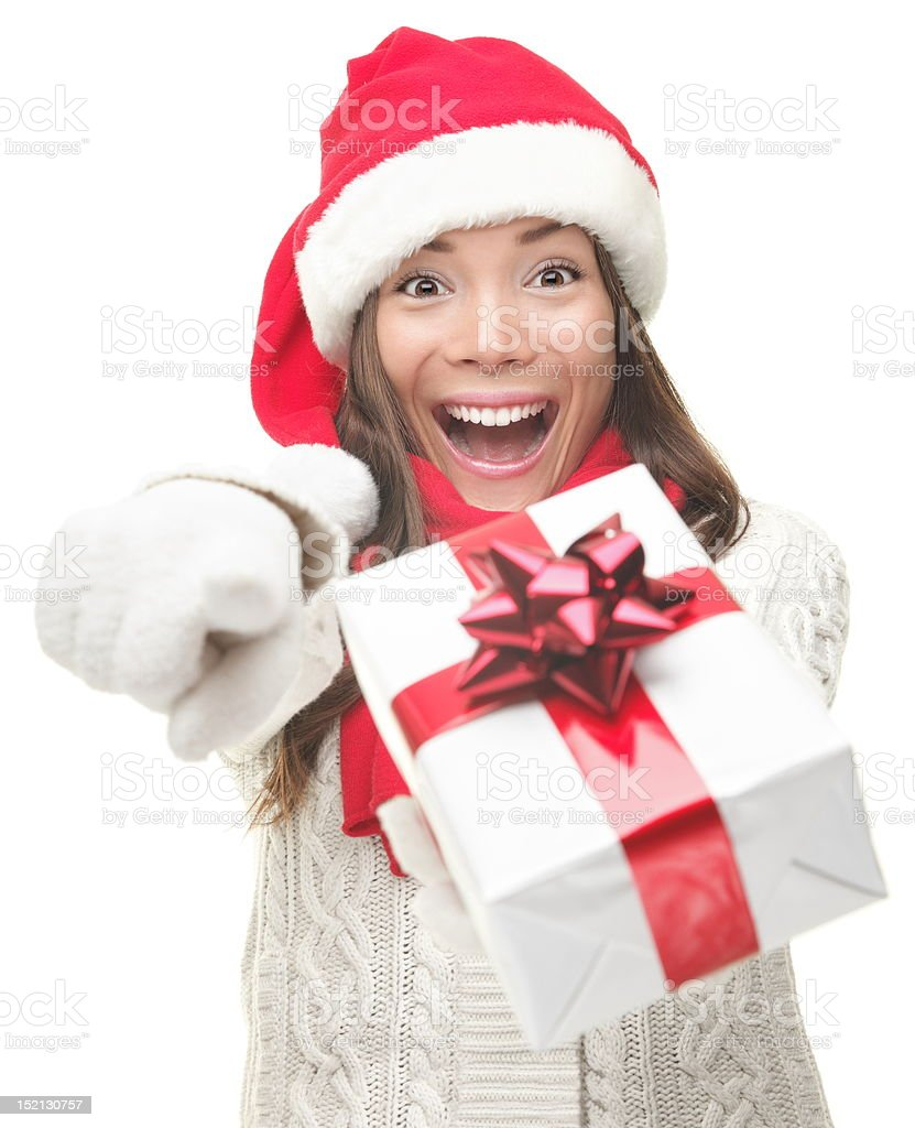Christmas woman giving gift excited royalty-free stock photo