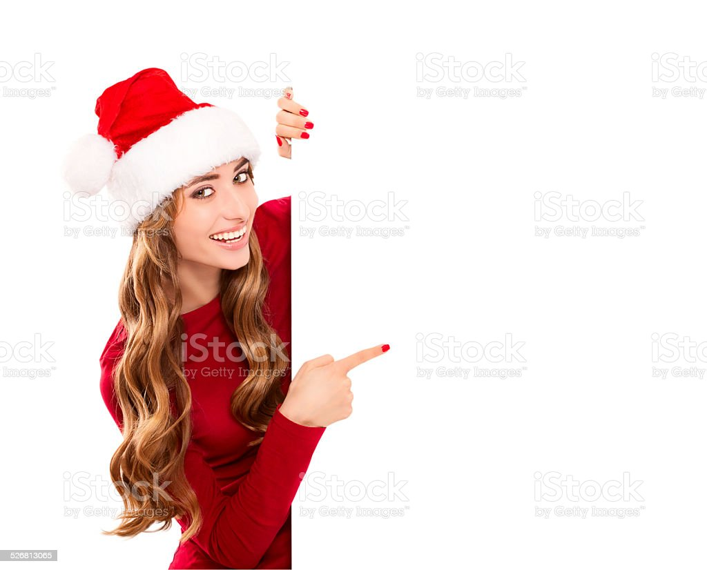 christmas woman in Santa Claus costume stock photo