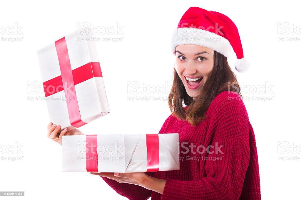 christmas woman opening gift box stock photo