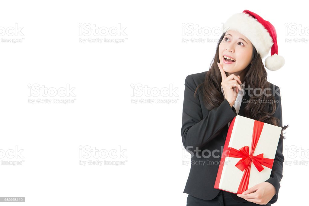 Christmas woman showing pointing excited and surprised stock photo