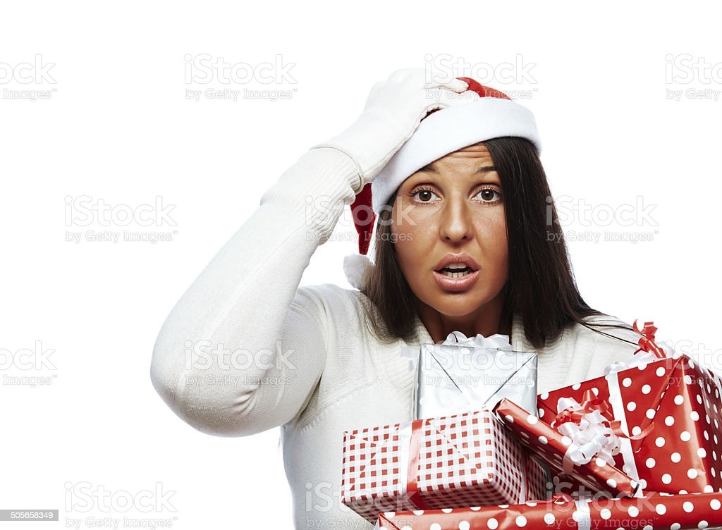 Christmas woman stressed out stock photo