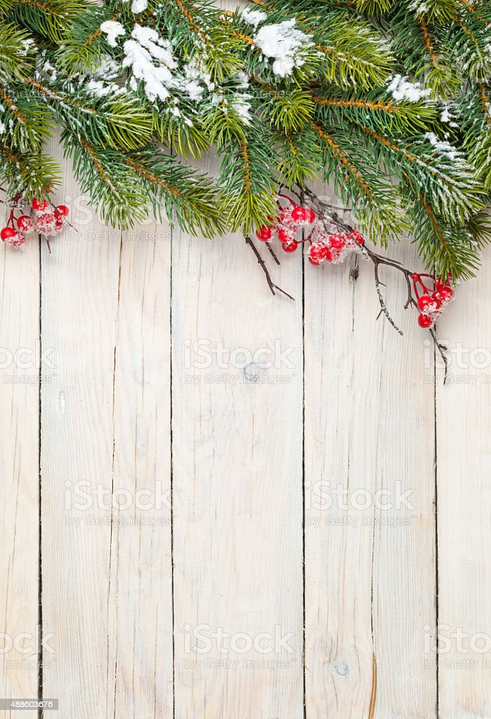 Christmas wooden background with fir tree and holly berry stock photo