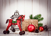 Christmas wooden decoration in retro style new year