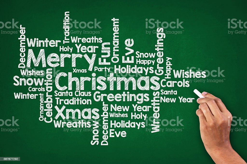 Christmas Word Cloud On Blackboard stock photo