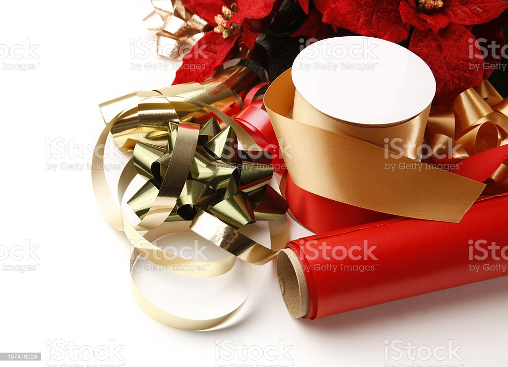 Christmas Wrapping Paper and Ribbons royalty-free stock photo