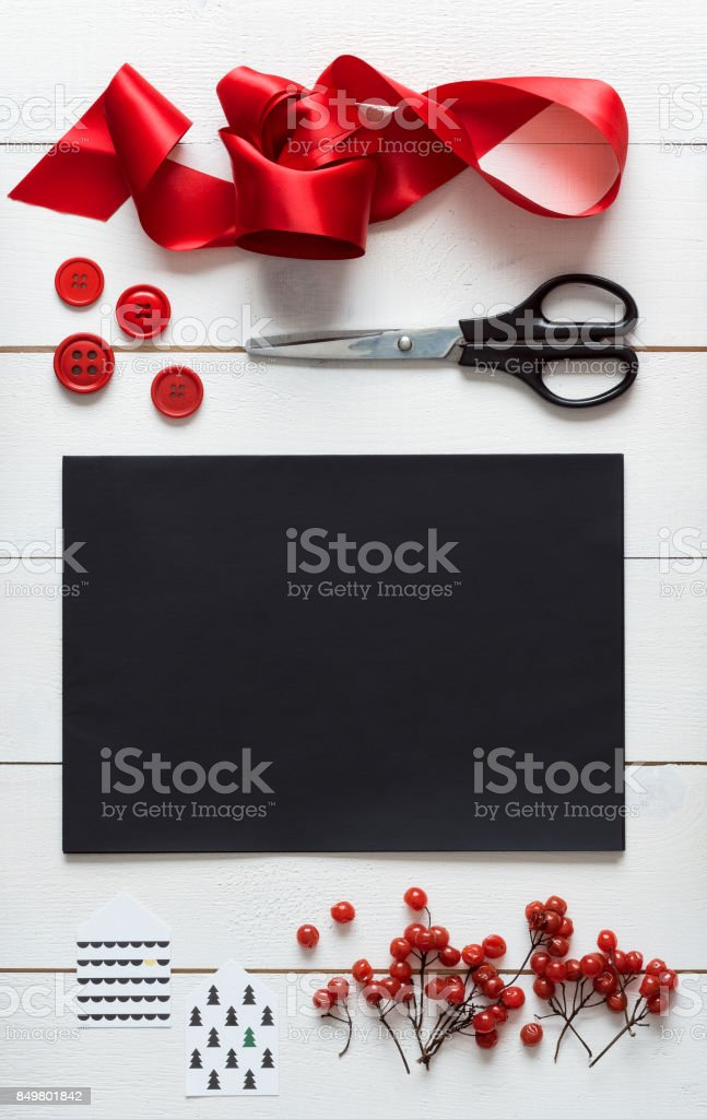 Christmas wrapping station, desk top view, letter to santa concept stock photo