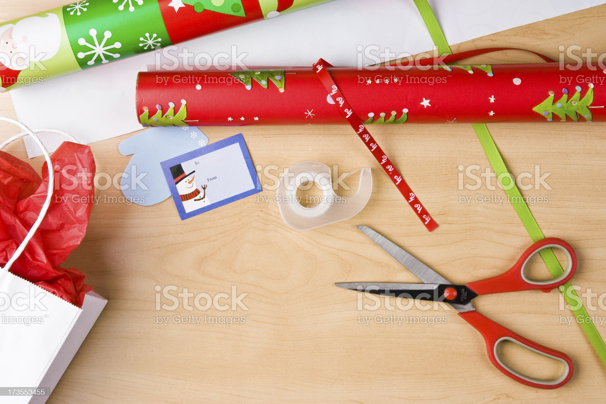 Christmas Wrapping Table royalty-free stock photo