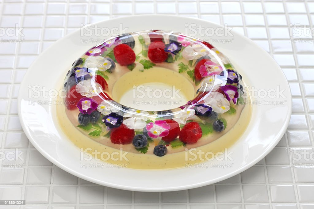 christmas wreath bavarois, homemade jelly dessert stock photo