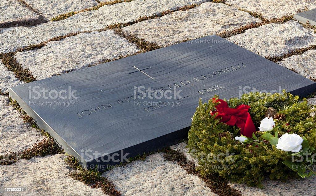 Christmas wreath by JFK memorial royalty-free stock photo