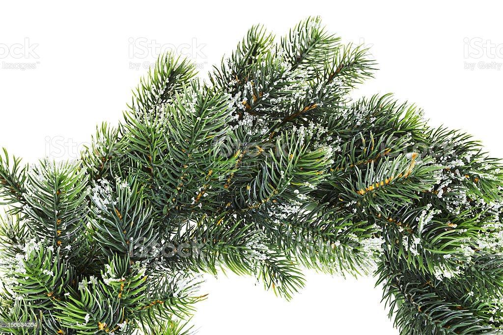 Christmas wreath closeup, isolated on white royalty-free stock photo