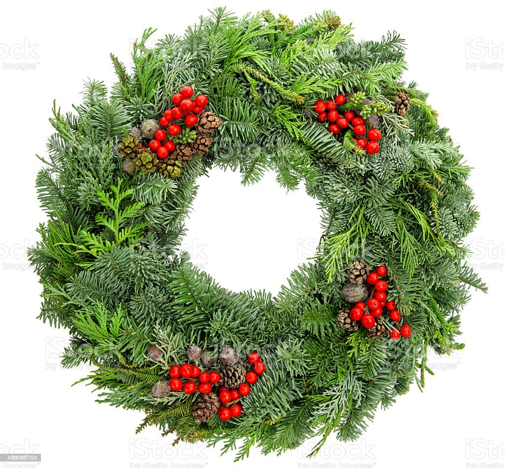 Christmas wreath fir, pine, spruce twigs with cones red berries stock photo