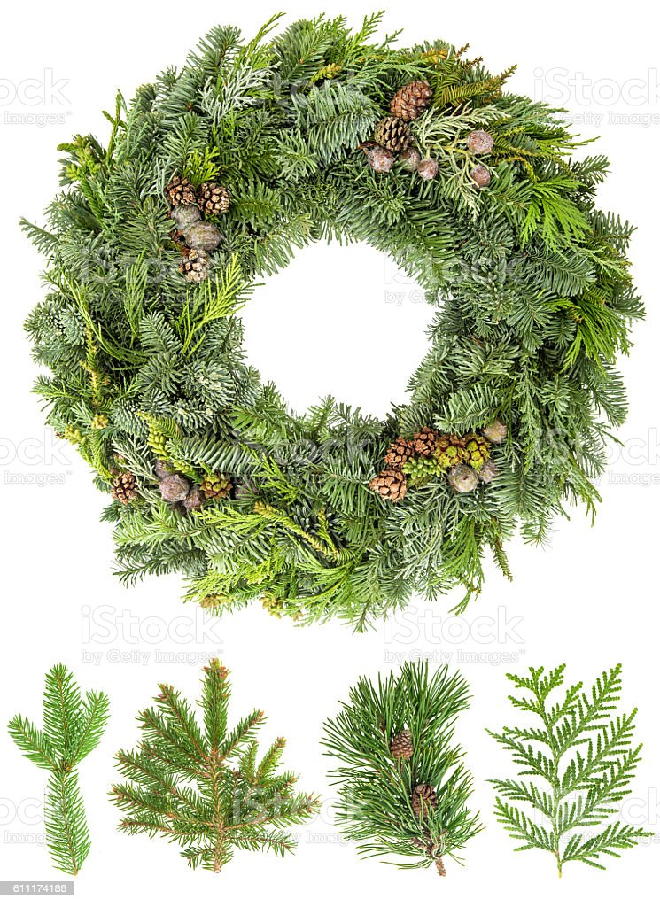 Christmas wreath from fir pine spruce twigs with cones stock photo