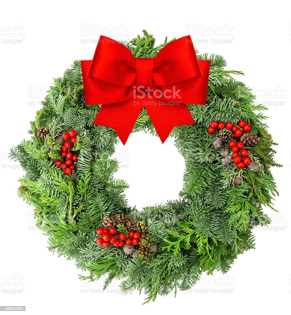 Christmas wreath from pine and spruce red ribbon bow stock photo