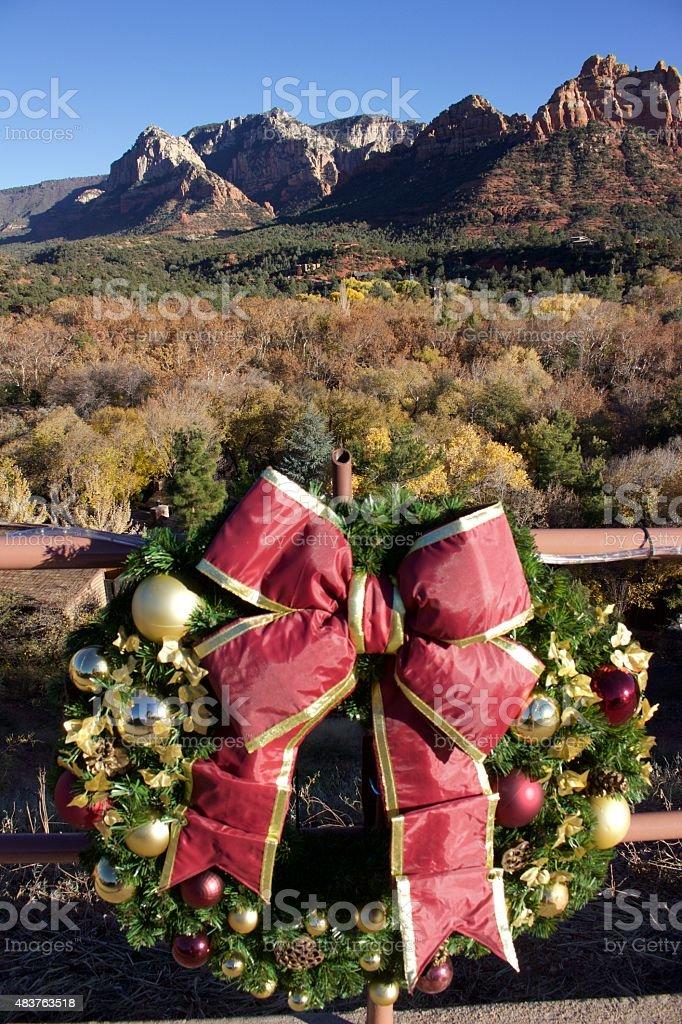 Christmas Wreath in Sedona stock photo