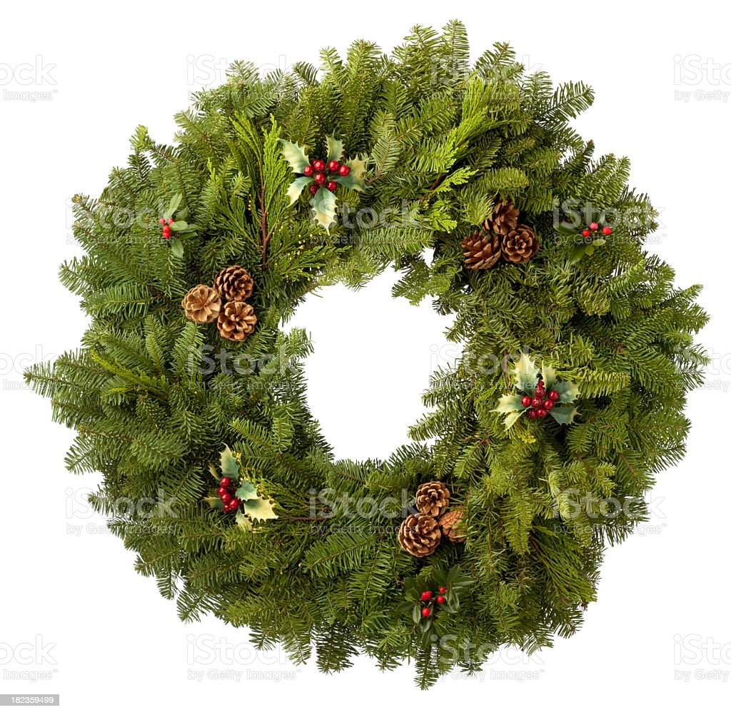 Christmas Wreath of evergreens. Isolated on White Background. stock photo