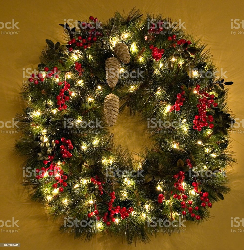 Christmas wreath on a door at Christmas royalty-free stock photo