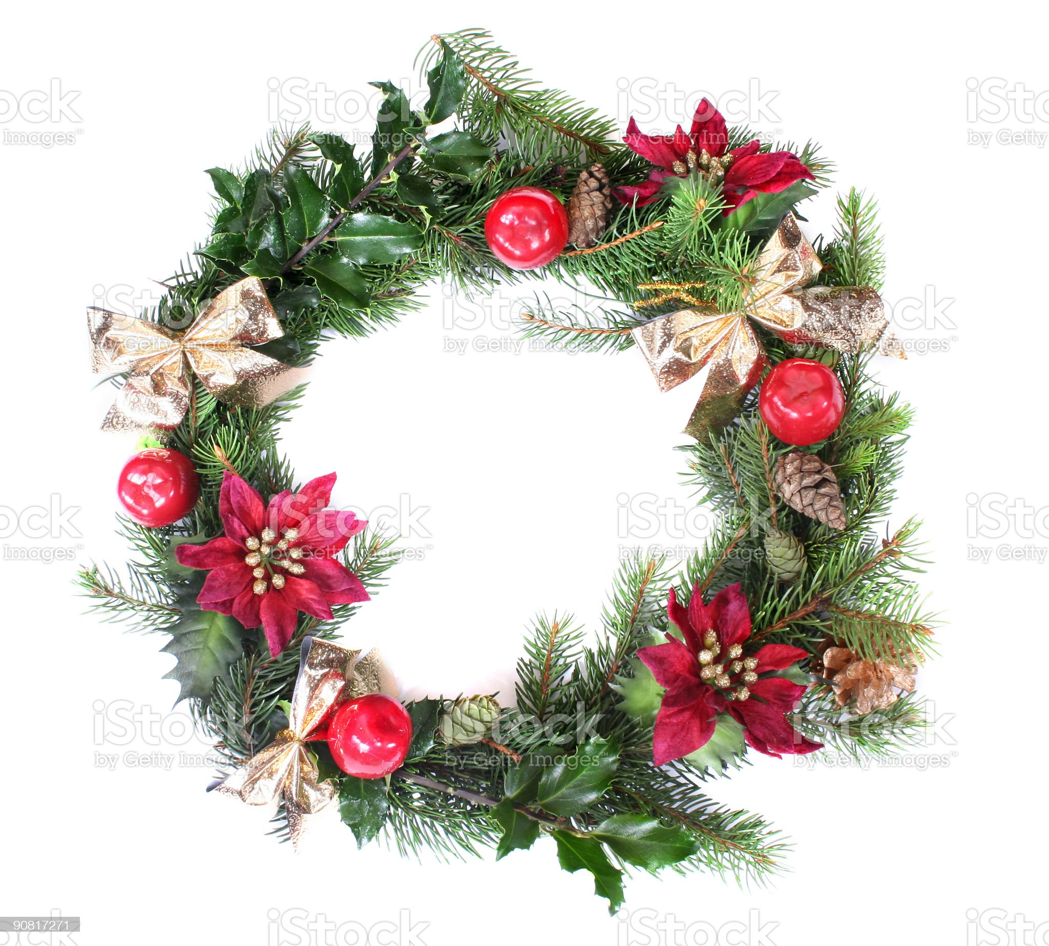 Christmas wreath on a wall during the festive season royalty-free stock photo
