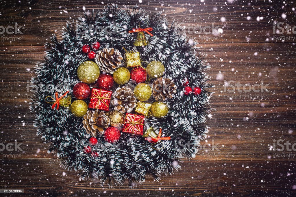 Christmas wreath on a wooden background stock photo