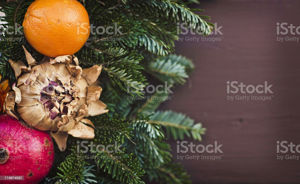Christmas Wreath on Front Door with Copyspace royalty-free stock photo