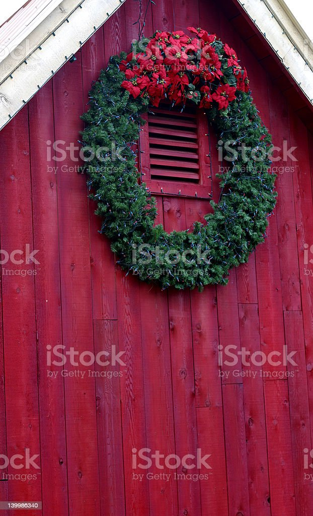 Christmas Wreath on Red Barn royalty-free stock photo