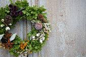 Christmas wreath on the entrance door