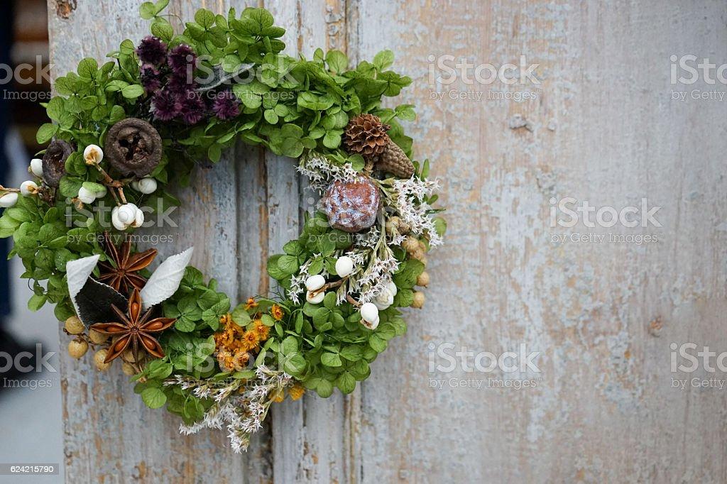 Christmas wreath on the entrance door stock photo