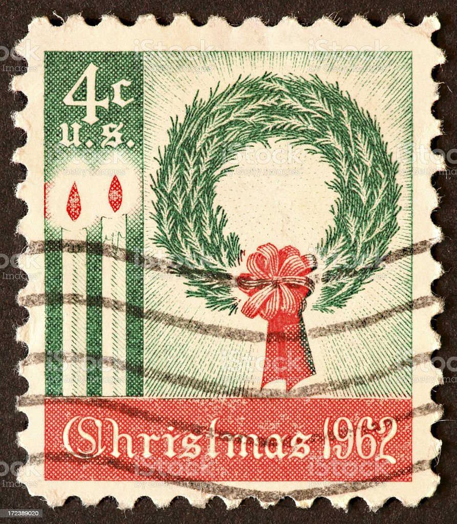 Christmas wreath stamp 1962 royalty-free stock photo