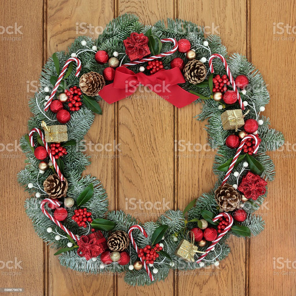 Christmas Wreath Welcome Decoration stock photo