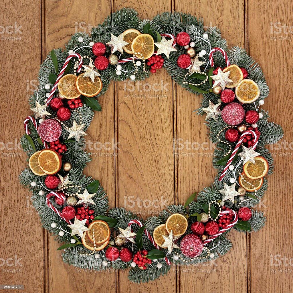 Christmas Wreath Welcome Symbol stock photo
