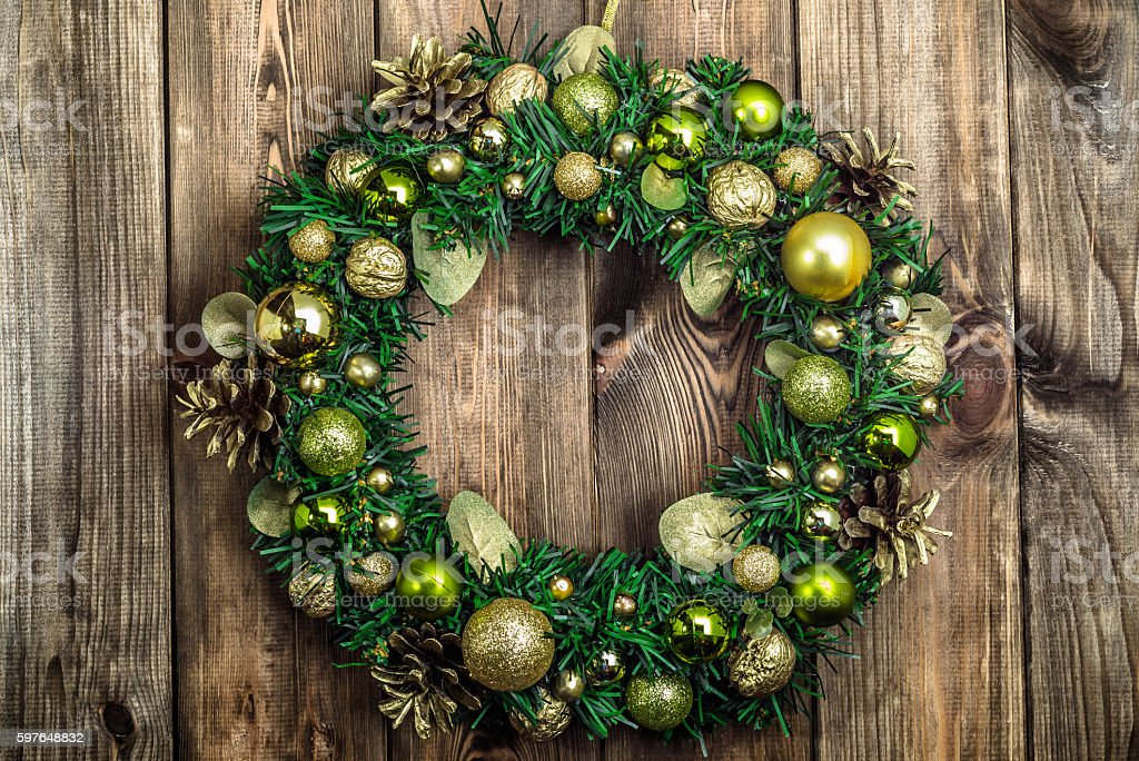 Christmas wreath with baubles useful as christmas decoration. stock photo
