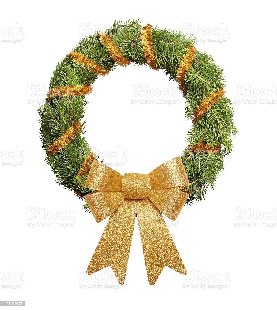 Christmas wreath with big golden bow royalty-free stock photo