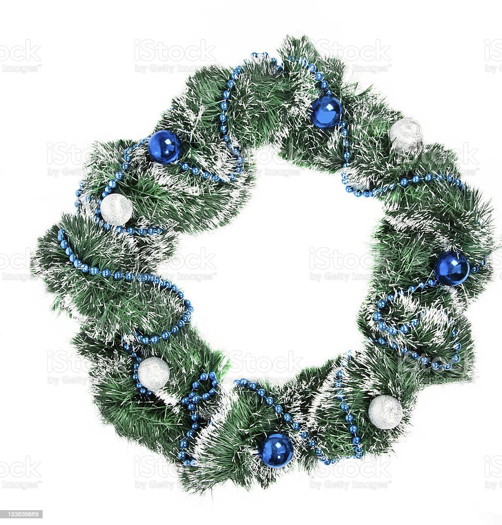 Christmas wreath with blue and silver decorations stock photo